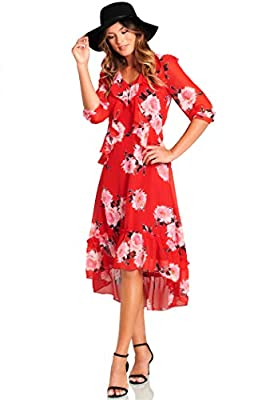 Truly Me Women's Gorgeous Split Floral Print Flowy Faux Wrap Boho Maxi Dress