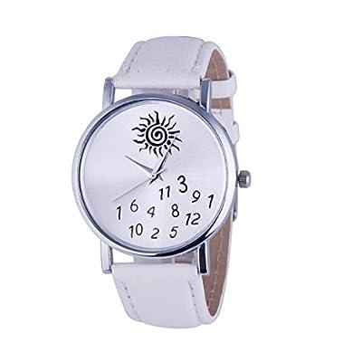 GOTD Women's Watches PU Leather Sunflower Digit Quartz Wrist Watch White