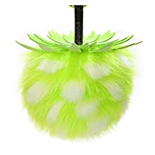 HONCHAN 5.5'' Real Fox Fur Large Ball Pineapple Pom Pom Keychain Womens Bag Purse Fashion Key rings (Silver Green, One Size)