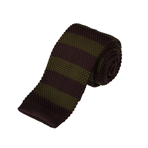 DAO3A01D Brown Dark Olive Green Stripes Presents For Graduation Skinny Knit Neck Tie Woven Microfiber Buy For Meeting By Dan Smith -