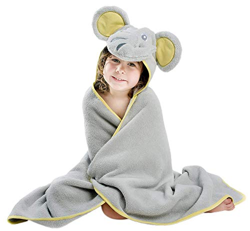 Premium Hooded Towel for Kids | Elephant Design | Ultra Soft and Extra Large | 100% Cotton Bath Towel with Hood for Girls or Boys by Little Tinkers World