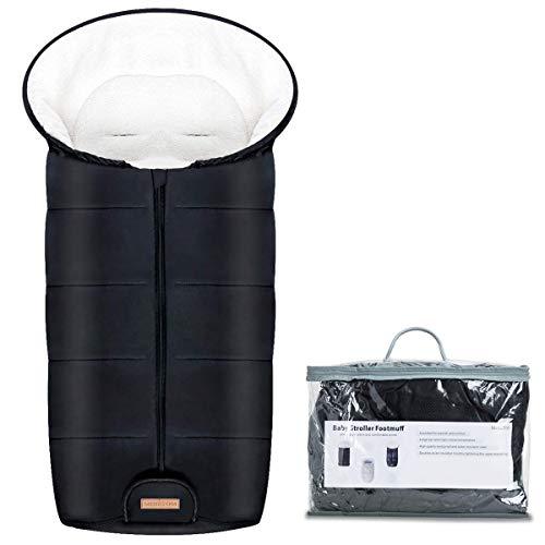Minetom Saco de Invierno Universal para Cochecito Saco de Dormir para Bebe Saco para Pies de Bebes Proteccion Antideslizante Calido Vello de Cordero Suave y Material Impermeable - Ideal para Bebes