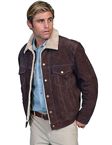 Scully Men's Sherpa Lined Boar Suede Jacket Chocolate Large