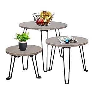 Amazon.com: Cocoarm mesas de nido, mesa de café redonda ...