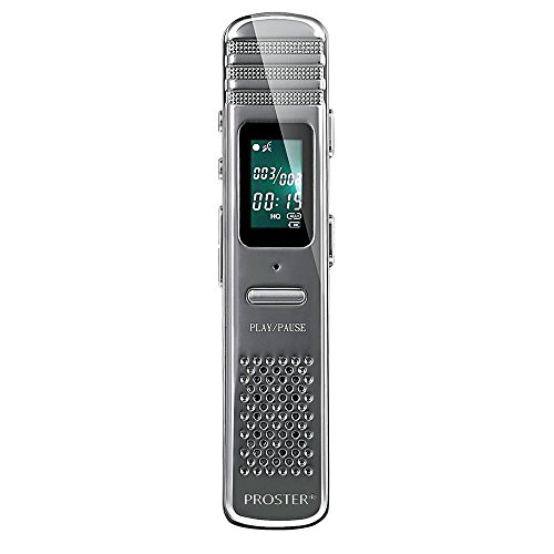 Proster Digital Voice Recorders 8GB Voice Activated Audio Recorder Multifunctional Portable Rechargeable Dictaphone MP3 Player for Interviews Meetings Conversation School Classes and etc