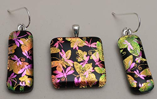(3 pc Sterling Silver Pink Peach Butterfly Dragonfly Fused dichroic glass pendant earrings set )