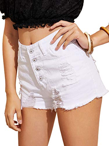 Milumia Women Ripped Single Breasted Raw Hem Denim Shorts White XL