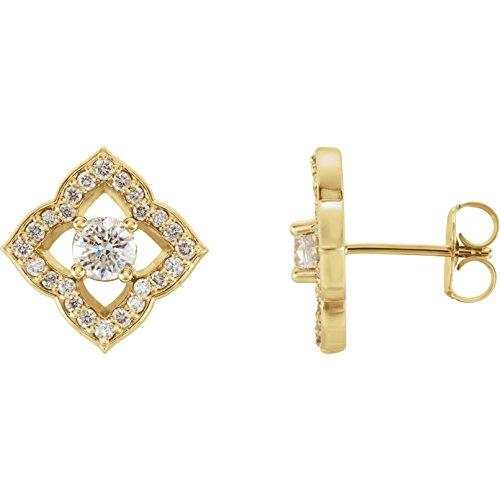 - 14k Yellow Gold 3/4 CTW Diamond Halo-Style Clover Earrings