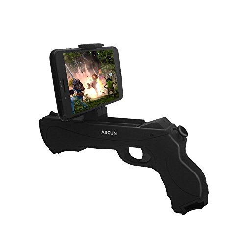 AR Game Gun Bluetooth, Augmented Reality Portable Gun with 3D 360 AR Games Controller for iPhone Android Smart Phones (Black)
