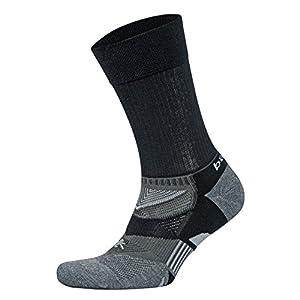 Balega Enduro V-Tech Crew Socks For Men and Women (1-Pair), Black/Grey Heather, Small