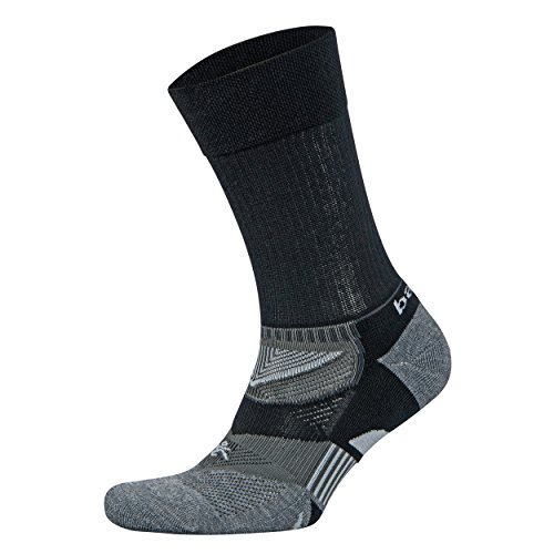 Balega Enduro V-Tech Crew Socks For Men and Women (1-Pair), Black/Grey Heather, X-Large
