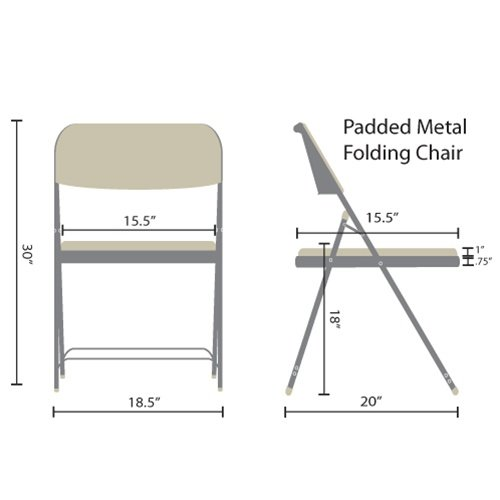 Gray Padded Metal Folding Chair - Navy Blue 1-in Fabric Seat (4 pack)