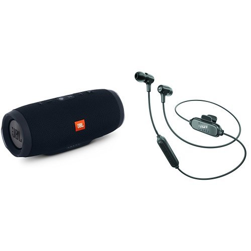 JBL CHARGE3 Bluetoothスピーカー IPX7防水 ブラック + E25BT Bluetoothイヤホン 通話可能 ブラック [JBLCHARGE3BLKJN + JBLE25BTBLK] 【国内正規品】 B079JV7RLM