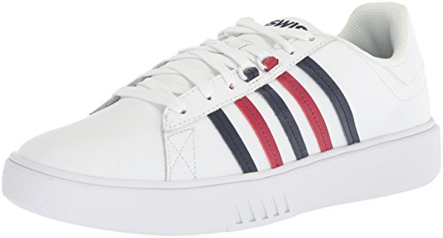 K-Swiss Men's Pershing Court CMF Sneaker White/Navy/Biking Red cheap price factory outlet order for sale Grey outlet store online mR2MHIcXBi