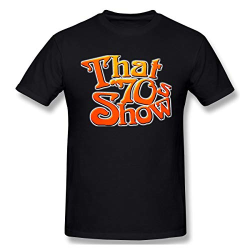 BARKBAY Man Graphic Printing That 70s Show Short Sleeve Crew-Neck T-Shirts S Black