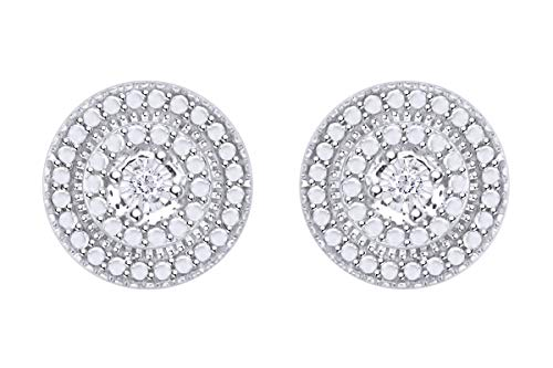 Samaira Jewelry Natural Diamond Accent Round Stud Earrings in 14k White Gold Plated Sterling Silver For Women (0.02 Cttw, I-J Color, I2-I3 ()