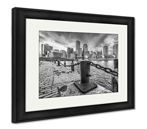 Ashley Framed Prints Boston, Massachusetts, USA Harbor and Cityscape at Dusk, Wall Art Home Decoration, Black/White, 30x35 (Frame Size), Black Frame, AG32784044