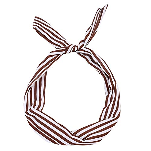 Kulywon Paisley Wired Headband Polka Dot Tartan Retro Scarf Wire Hair Band ()