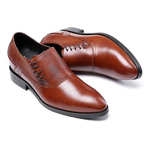 Hombres Negocio Cuero Zapatos Primavera Vestir marrón Negro Invisible Incrementar Bajo Soltero Casual Oxfords Plano tamaño 37-44 Brown