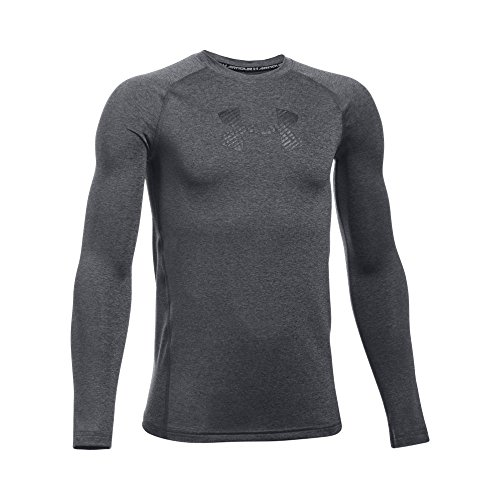 Under Armour Boys' HeatGear Armour Long Sleeve Shirt, Carbon Heather/Black, Youth Medium
