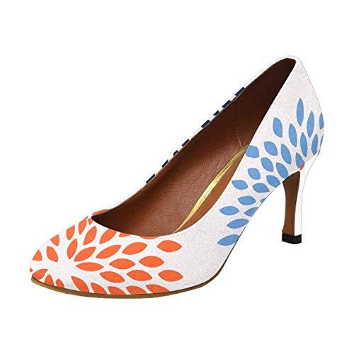 Heel Pump High Houndstooth (INTERESTPRINT Women's High Heels Dress Pump Shoes Flower Floral Nature US5)