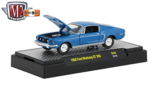 M2 Machines 1968 Ford Mustang GT 390 (Acapulco Blue Metallic) - Detroit Muscle Release 48 Castline 2019 Premium Edition 1:64 Scale Die-Cast Vehicle & Custom Display Base (R48 19-24)