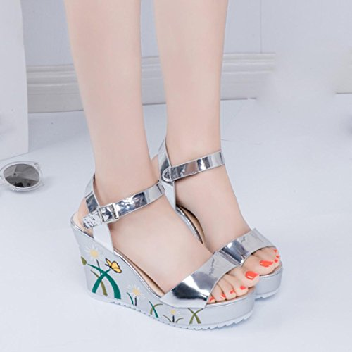 Women Sandals , Amiley Printed Slope Sandals Summer Wedges Platform bling mirror Toe High-Heeled Shoes (7.5, Silver)