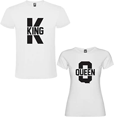 Pack de 2 Camisetas Blancas para Parejas King K y Queen Q Negro: Amazon.es: Ropa y accesorios