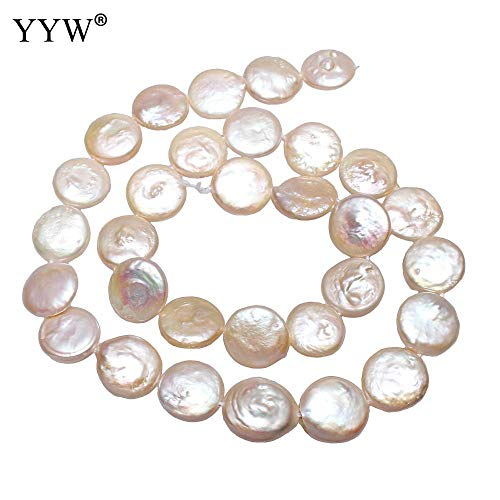 Pukido Flat Round Bead Making Jewelry Accessories 12-13mm Natural White Cultured Coin Shape Pearl Beads Christmas Gift