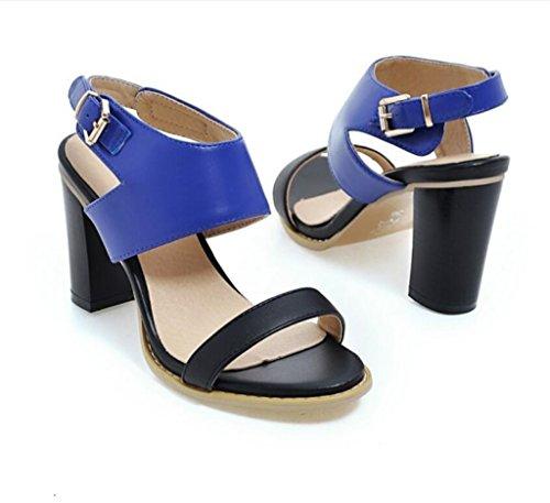 Shfang Pu 8cm Chaussures Achats De 34 Boucle Sandales Partie Confortable Femmes Bleu Antidérapante 41 Ceinture Toes d0vqp07