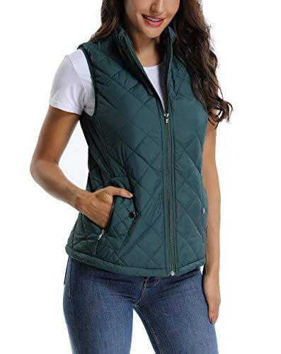 MISS MOLY Women's Lightweight Zip up Stand Collar Warm Quilted Gilets Padded Puffer Vest Outerwear w 2 Pockets Dark Green ()
