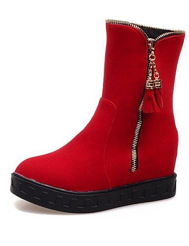 Xzz Zapatos Rojo Uk8 Negro 5 Punta De Eu42 Mujer Botas Azul Cn43 Ante 5 Botines Red Redonda Plataforma Vestido us10 Sintético r1qrSdOw
