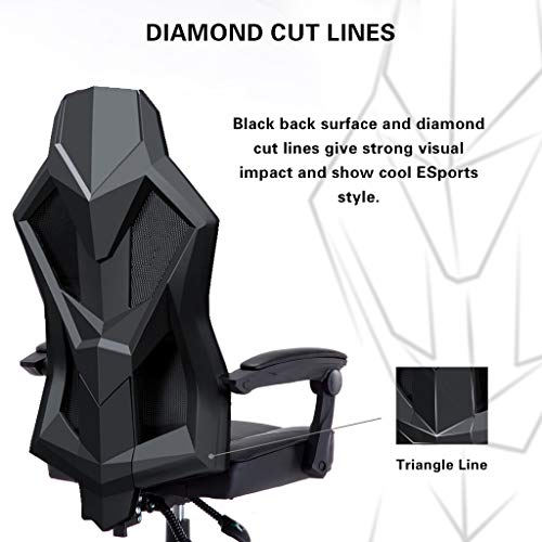 UOMAX Gaming Chairs, Ergonomic Computer Chair for Gamers, Reclining Racing Chair with LED Lights, Armrests and Lumbar Cushion. Black red