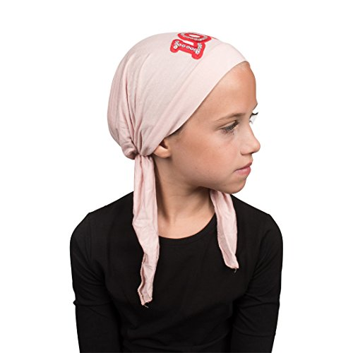 Sequin Love Applique on Child's Pretied Head Scarf Cancer Cap Light Pink by Landana Headscarves (Image #3)