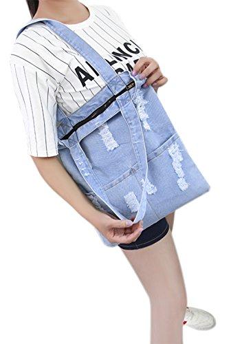Moon Damen Denim Jeans Tasche Umhängetasche Messenger Bag Handtasche Schultertasche Tragetasche koreanisch Löcher Stil für Freizeit Einkaufen Studium Hellblau
