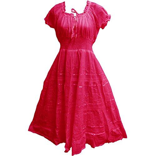 [Indian Cotton Smocked Peasant Gypsy Boho Renaissance Dress (Fuscia)] (Pink Renaissance Dress)