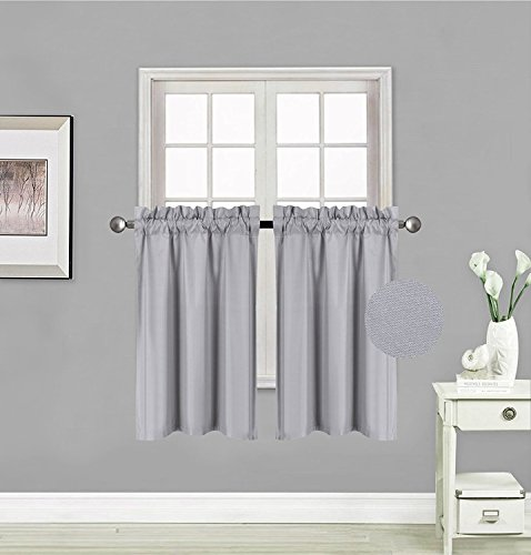 Fancy Collection 2 Panel Curtains Blackout Draperies Thermal Insulated Solid Silver/Grey Rod Pocket Top Blackout Drapes Each Panel is 27