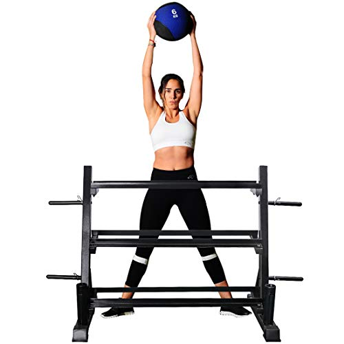 Zupapa Dumbbell Rack Stand Olympic Plate Weight Rack Kettlebell Rack with Barbell Holder, 4 in 1 Store Dumbbells, Plate Weights, Kettlebells and Olympic Bars for Home Gym 800lbs Capacity