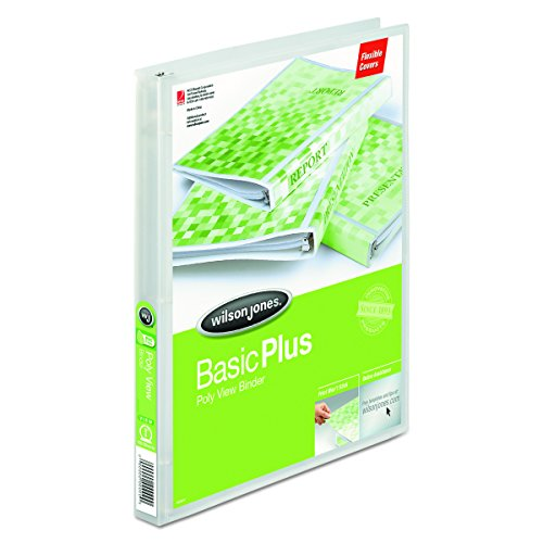 Wilson Jones Print-Won't-Stick Flexible Poly Round Ring View Binder, 0.625-Inch Capacity, Clear (43336)