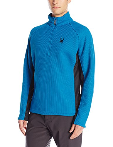 (Spyder Men's Pitch Half Zip Heavy Weight Core Sweater, Concept Blue/Black Medium)