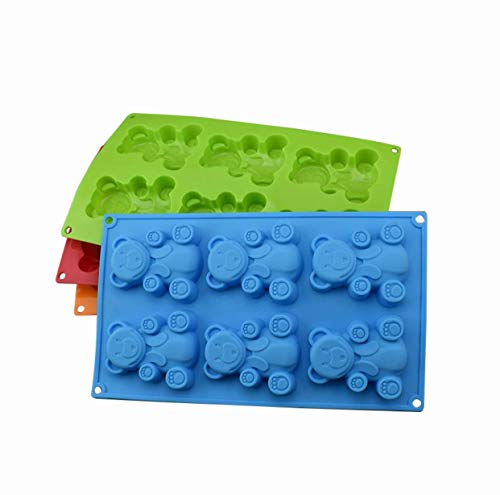 - NordikKitchen - 6 Cavity Bear Silicone Cake Mold Chocolate Craft Candy Soap Baking Mold - Assorted color