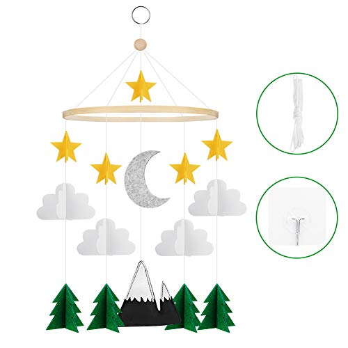 Accmor Baby Crib Mobile, Handmade Baby Mobile Starry Clouds Woodland Nursery Decoration Crib Mobile for Night Boys Girls Baby Shower, Unique Crib Mobile Nursery Décor (2019 Newest)