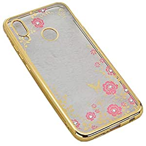 Huawei P20 Lite Soft Case Flower Rhinestone Shockproof TPU Back Cover Electroplating Bumper