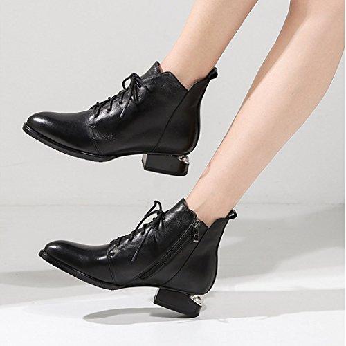 El De Las Botas De Gruesa Trabajo Moda Blacksingleshoes Negro Casuales Tacones con Plus Perla Mujeres Botines Encaje Velvet Martin Altos RLYAY Zapatos Yq66t