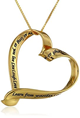 "Sterling Silver ""Live Laugh Love"" Open Heart Pendant Necklace, 18"""