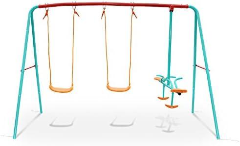 Yorbay Columpio Infantil con balancín Columpio para jardín multifunción Columpio 3 en 1,Puede cargarse hasta ca.135Kg, 228x141.5x184cm (2xoscilación Junta+1xbalancín): Amazon.es: Juguetes y juegos