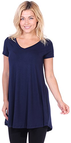 Popana Women's Tunic Tops for Leggings Short Sleeve Summer Shirt Made in USA 2X Navy]()