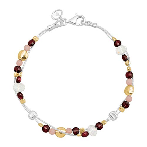 Silpada 'Sunrise and Shine' Natural Garnet, Pink Jade, Crystal Bead Bracelet in Sterling Silver & 14K Gold Plate