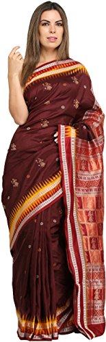 Exotic India Chocolate-Truffle Bomkai Sari from Orissa with Hand-Woven F - Brown