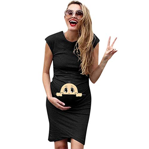 Forthery Maternity Dress,Women Short Sleeve Pregnant Maternity Dress Solid Cartoon Printed Skirt(Black,US Size S = Tag M)
